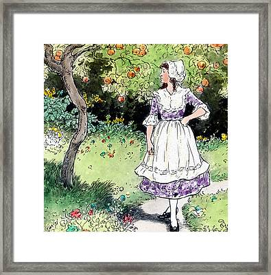 Frau Holle Also Known As Mother Holle Or Old Mother Frost Framed Print by German School