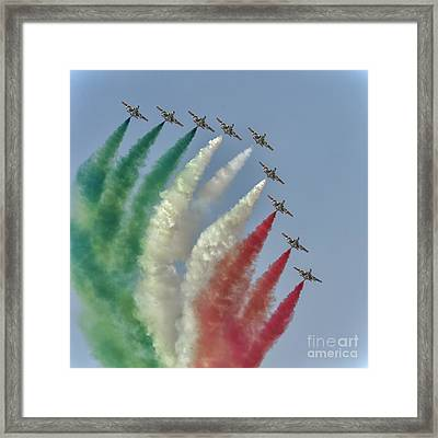 Frecce Tricolori At Dubai Air Show, Uae Framed Print by Ivan Batinic
