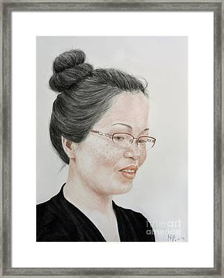 Freckle Faced Beauty With Glasses And Her Hair Up Framed Print by Jim Fitzpatrick