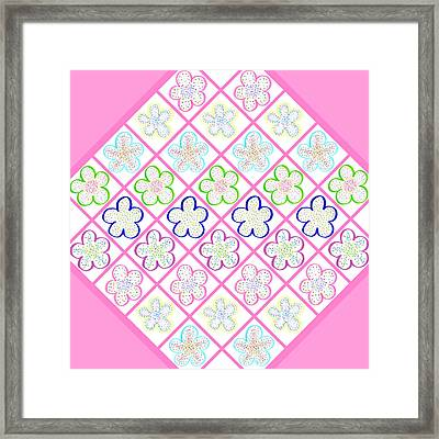 Freckled Flowers Quilt Framed Print by Irina Sztukowski