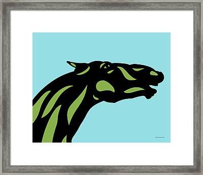 Fred - Pop Art Horse - Black, Greenery, Island Paradise Blue Framed Print