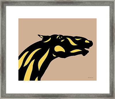 Fred - Pop Art Horse - Black, Primrose Yellow, Hazelnut Framed Print by Manuel Sueess