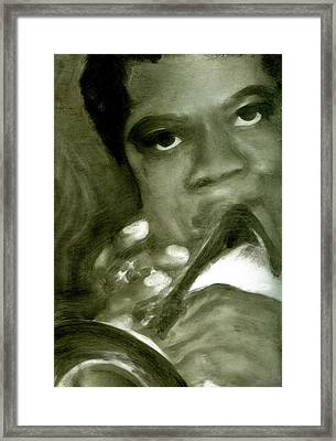 Framed Print featuring the painting Freddie Hubbard by FeatherStone Studio Julie A Miller
