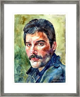Freddie Mercury Watercolor Framed Print