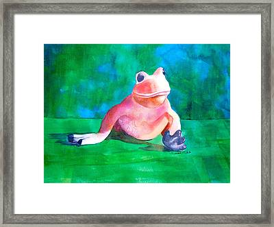 Framed Print featuring the painting Freddy The Frog by Sharon Mick