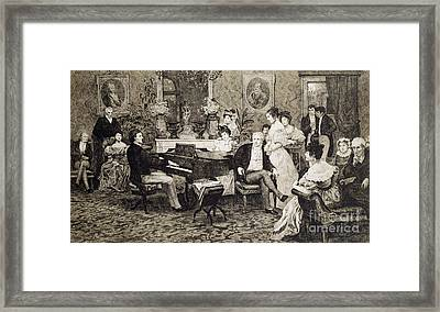 Frederic Chopin Playing In The Salon Of The Musician And Composer Prince Anthony Radziwill Framed Print