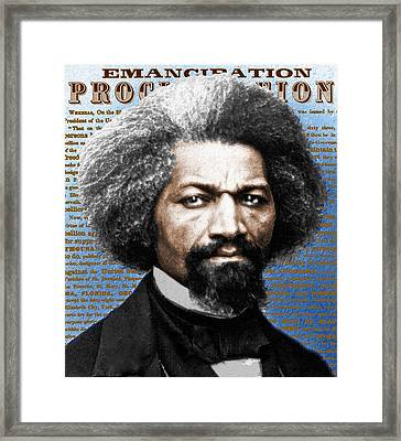 Frederick Douglass And Emancipation Proclamation Painting In Color  Framed Print
