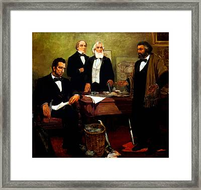 Frederick Douglass Appealing To President Lincoln Framed Print