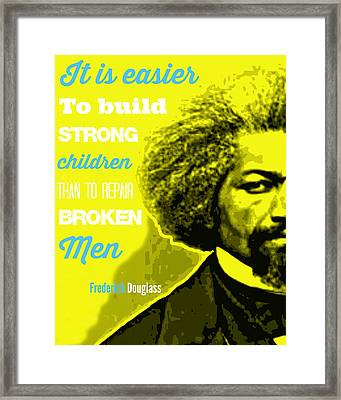 Frederick Douglass Yellow Typography And Word Art Framed Print
