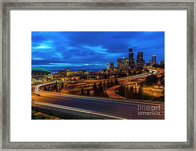Freeway 5 North To Seattle Framed Print