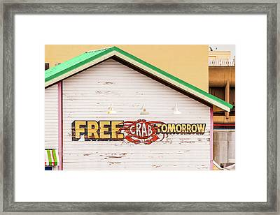 Framed Print featuring the photograph Free Crabs Tomorrow by Art Block Collections