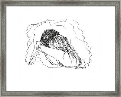 Framed Print featuring the drawing Free Hugs Bw by Denise Fulmer