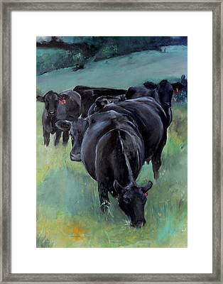 Free Range Cow Girls Framed Print