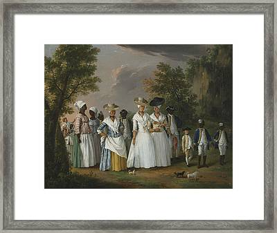 Free Women Of Color With Their Children And Servants In A Landscape Framed Print by Agostino Brunias