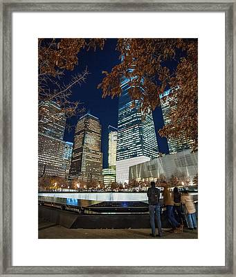 Freedom Tower And Reflecting Pools Framed Print