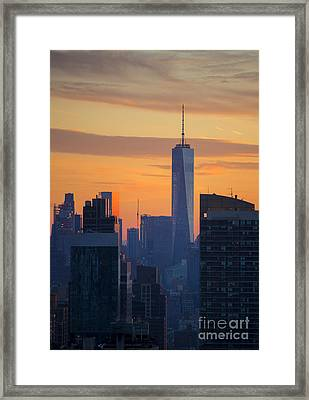 Freedom Tower At Sunset Framed Print
