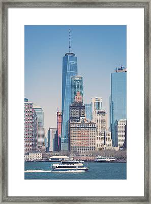 Freedom Tower From The Hudson Framed Print by Erin Cadigan