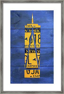 Freedom Tower World Trade Center New York City Skyscraper License Plate Art Framed Print by Design Turnpike