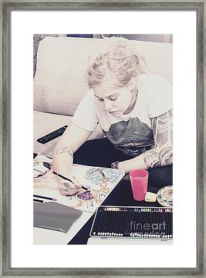 Freelance Artist Designing Intricate Illustration Framed Print