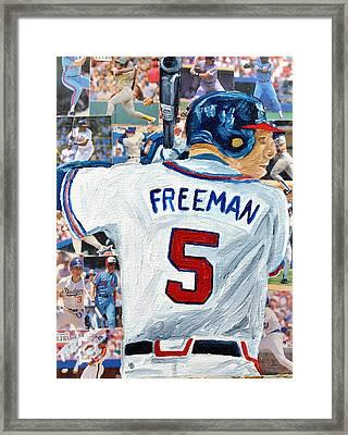 Freeman At Bat Framed Print by Michael Lee