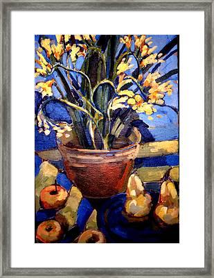 Freesia And Pears Framed Print