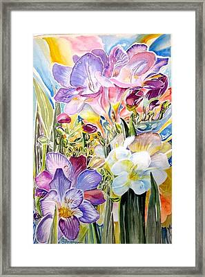 Freesias  Framed Print by Therese AbouNader