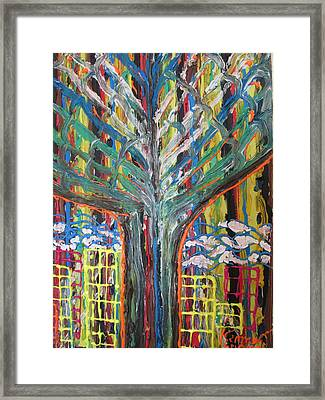 Freetown Cotton Tree - Abstract Impression Framed Print by Mudiama Kammoh