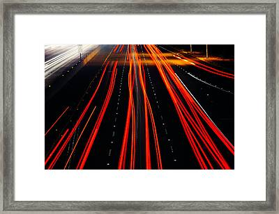 Freeway Lights Framed Print by Garry Gay