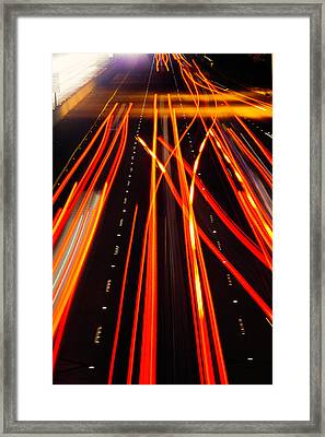 Freeway Tail Lights Framed Print by Garry Gay