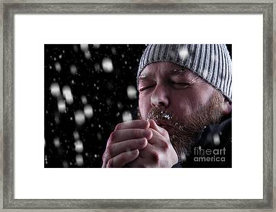 Freezing Cold Man In Snow Storm Framed Print by Simon Bratt Photography LRPS