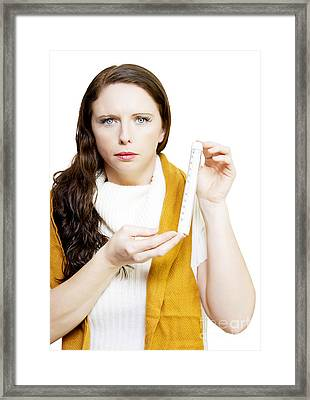 Freezing Cold Woman In Winter Fashion Framed Print