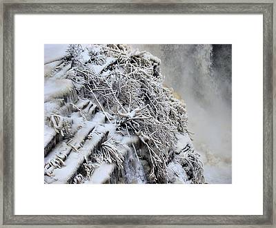 Freezing Falls Framed Print by Tingy Wende