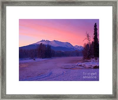 Freezing Under The Glow Framed Print