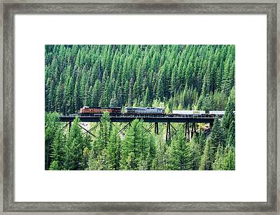 Freight Over A Trestle In Montana Framed Print by Mick Anderson
