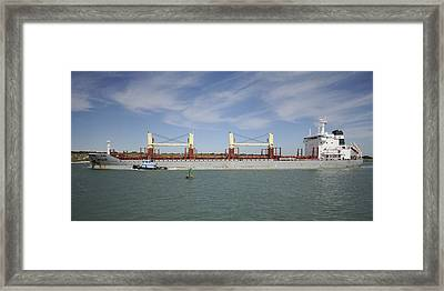 Framed Print featuring the photograph Freighter Heading To Port by Bradford Martin