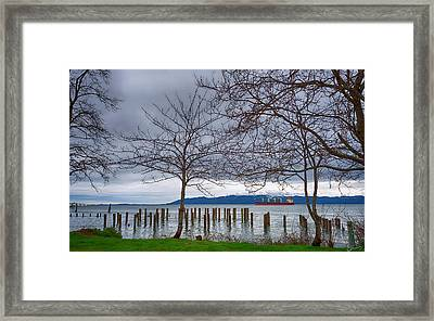 Freighter On The Columbia Framed Print