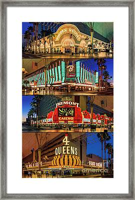 Fremont Street 4 Casinos Framed Print