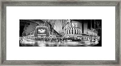 Fremont Street Experience Bw Framed Print by Az Jackson
