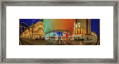 Fremont Street Experience Panorama 3 To 1 Aspect Ratio Framed Print