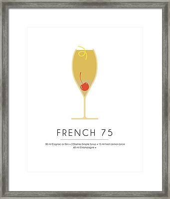 French 75 Classic Cocktail - Minimalist Print Framed Print