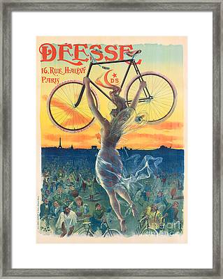 French Art Nouveau Poster For Deesse Bicycles, Circa 1898 Framed Print