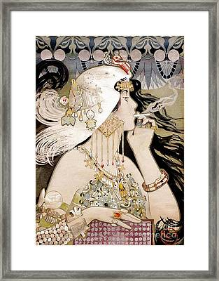 French Art Nouveau Smoking Woman Collage Framed Print by Tina Lavoie
