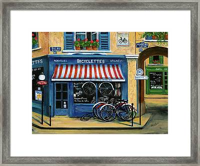 French Bicycle Shop Framed Print by Marilyn Dunlap