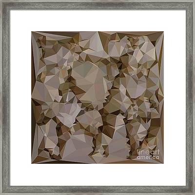 French Bistre Brown Abstract Low Polygon Background Framed Print