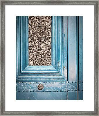 French Blue - Paris Door Framed Print