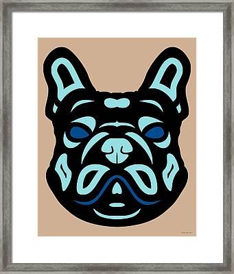 French Bulldog Francis - Dog Design - Hazelnut, Island Paradise, Lapis Blue Framed Print by Manuel Sueess