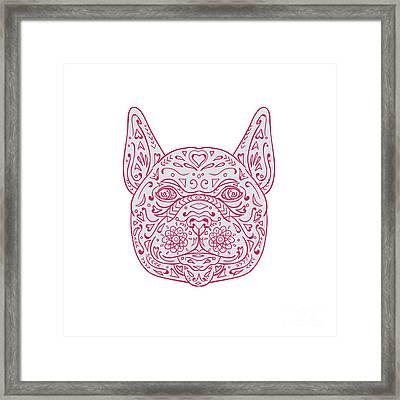 French Bulldog Head Front Mandala Framed Print
