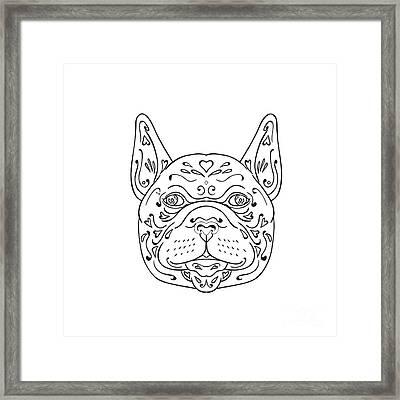 French Bulldog Head Mandala Framed Print