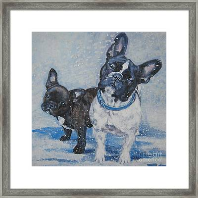French Bulldog Mom And Pup Framed Print