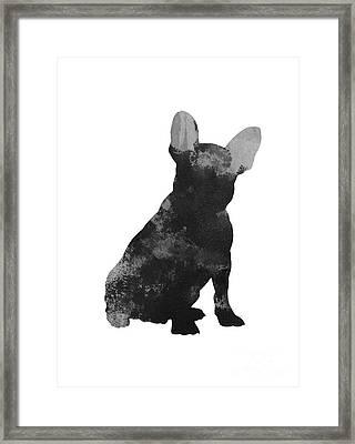 French Bulldog Silhouette Minimalist Painting Framed Print
